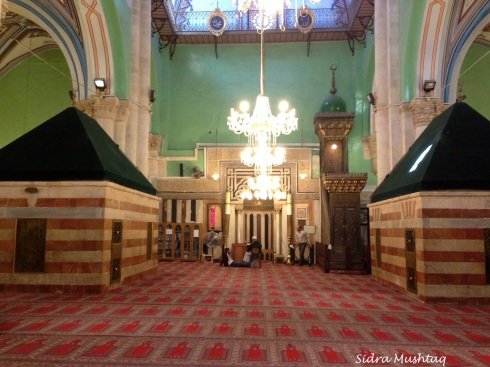 Inside Masjid el-Khalil. Tombs of Prophet Isaaq and his wife Rifaqah (peace be upon them both)