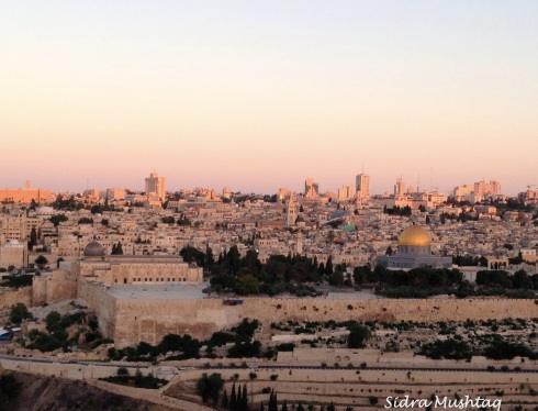 Sunrise over Jerusalem. View from our hotel, top of Mount of Olives.